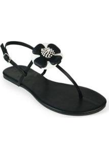 Rasteira Básica Mercedita Shoes Flor Feminina - Feminino-Preto+Branco