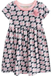Vestido Infantil Milon Geométrico Rosa