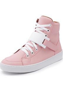 Sapatenis Feminino Cano Alto Top Franca Shoes Rosa / Branco