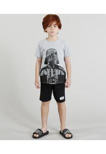 Pijama Infantil Darth Vader Star Wars Manga Curta Cinza Mescla