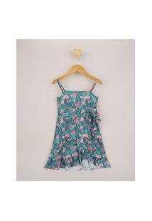 Vestido Infantil Minnie Estampado Envelope Alça Fina Verde