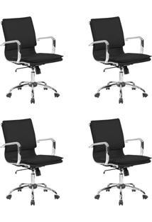 Conjunto Com 4 Cadeiras De Escritório Diretor Confort Preto