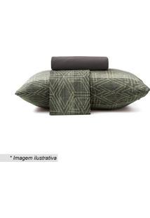 Jogo De Cama New Confort Queen Size- Cinza & Verde- Altenburg