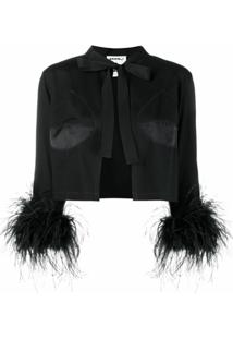 Seen Users Cropped Feather-Embellished Jacket - Preto