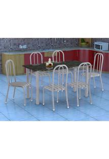 Conjunto De Mesa Granada Com 6 Cadeiras Madri Prata E Preto Listrado Gr