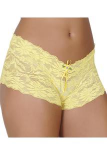 Calcinha Caleçon Click Chique Em Renda Amarelo a14ba94699b