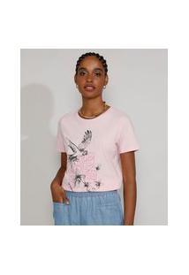 Camiseta Feminina Manga Curta Arara Decote Redondo Rosa Claro