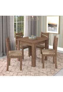 Conjunto De Mesa De Jantar Suly Flex Com 4 Cadeiras Melissa Suede Marrom