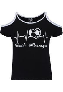 Camiseta Do Botafogo Beat Feminina - Infantil - Preto/Branco