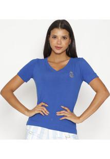 """Camiseta """"Csâ®""""- Azul & Douradacarmen Steffens"""