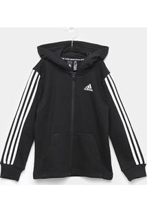Jaqueta Infantil Adidas C/ Capuz Masculina - Masculino-Preto+Branco
