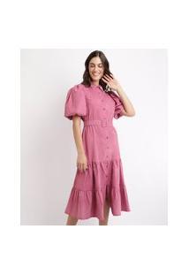 Vestido Feminino Mindset Midi Com Recortes E Cinto Manga Bufante Rosa
