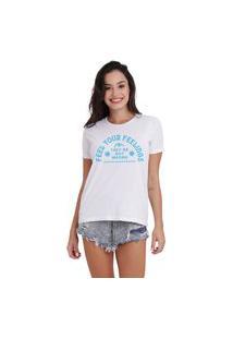 Camiseta Joss Basica Feel Your Feelings Azul Branca Dtg