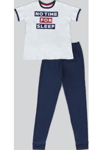 "Pijama Infantil Manga Curta ""No Time For Sleep"" Cinza Mescla Claro"