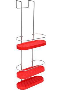 Porta Shampoo De Box Wave- Vermelho & Prateado- 64X2Metaltru