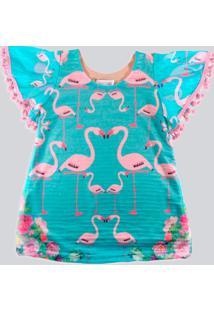 Vestido Infantil Ummi Flamingos Manga Flare Com Pompom Em Crepe Azul