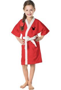 Roupão Aveludado Infantil Quimono Transfer Bordado Minnie M Com 1 Peça Lepper Vermelha