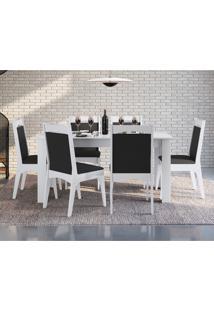 Conjunto Mesa Extensível Com 6 Cadeiras Móveis Canção Brilho