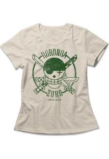 Camiseta One Piece Roronoa Zoro Feminina - Feminino-Mescla