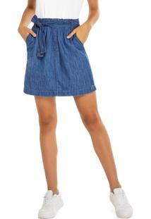 Saia Azul Jeans Cintura Alta