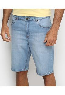 Bermuda Jeans Malwee Comfort Tradicional Masculina - Masculino-Azul