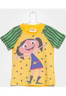 Camiseta Infantil Tip Top Luna Menina - Feminino-Amarelo