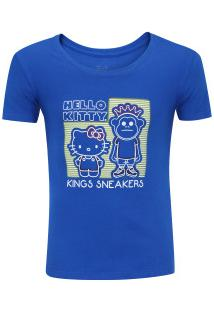 Camiseta Kings Temático Neon Feminina - Infantil - Azul Escuro