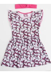 Vestido Infantil Estampa Hello Kitty Brinde Tiara Sanrio