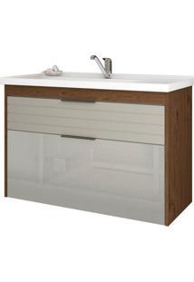 Gabinete De Banheiro Azaleia 1 Pt 1 Gv Amêndoa E Off White 79 Cm