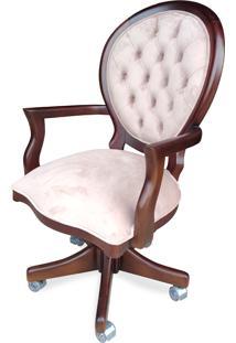 Cadeira Giratória Medalhão Capitonê Design Clássico Peça Artesanal