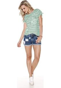 Camiseta Knt T-Shirt Estampada - Feminino-Verde