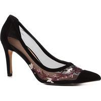 1ea23dea81 Scarpin Couro Shoestock Salto Alto Tela Bordado - Feminino-Preto