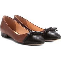 e8de9eedc Sapatilha Couro Shoestock Bicolor Laço Feminina - Feminino-Caramelo