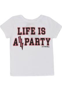 Camiseta Infantil Authoria Tradicional Escrita Feminina - Feminino-Branco