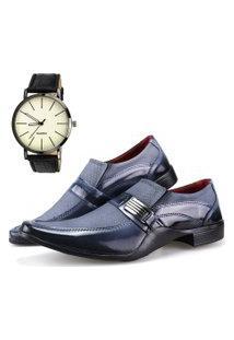 Sapato Social Neway Preto E Cinza + Relógio