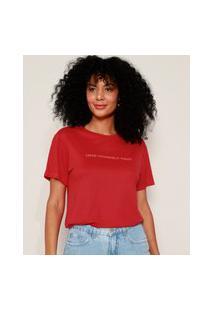 "Camiseta Feminina Love Yourself First"" Com Relevo Manga Curta Decote Redondo Vermelha"""