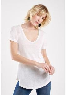 Camiseta Malha Básica Linho Sacada Feminina - Feminino-Branco
