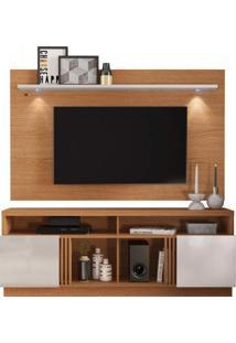 Rack Com Painel Home Para Tv Até 65 Polegadas Com Led Itapuã Colibri Móveis Natural Real/Off White