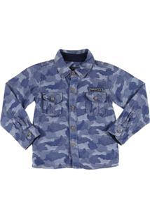 Camisa Jeans Manga Longa Infantil Clube Do Doce Masculino - Masculino-Azul