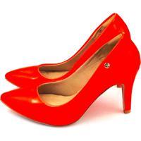 6379e4d0bf Dafiti. Scarpin Salto Alto Love Shoes Bico Fino Verniz Neon Laranja