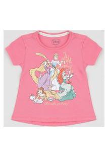 Blusa Infantil Princesas Manga Curta Rosa