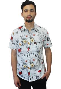 Camisa Estampada Camaleão Urbano Floral Rosas Branca