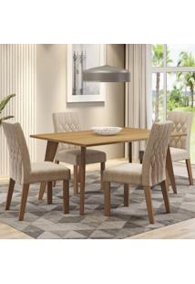 Conjunto Sala De Jantar Madesa Adele Mesa Tampo De Madeira Com 4 Cadeiras