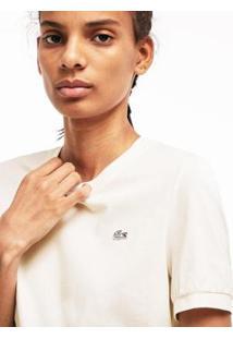 Camiseta Lacoste Live Decote Careca Feminina - Feminino-Branco