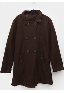 Casaco Plus Size Original Collection Lã Batida Feminino - Feminino-Marrom