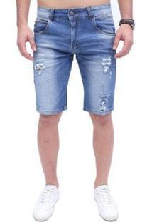 Bermuda Rock&Soda Jeans Zíper Bolso Masculina - Masculino-Azul Claro