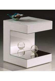 Mesa Lateral Apple Laca Branco Brilho Com Espelho - 22550 Sun House