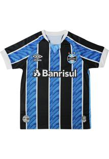 Camisa Infantil Grêmio Umbro Oficial 1 2020 S/N Azul/Preto - 10