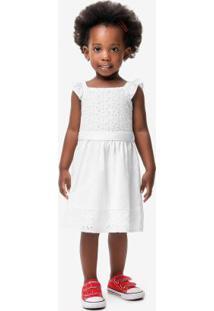 Vestido Branco Em Tricoline Menina Malwee Kids