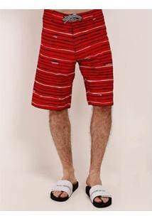 Bermuda Refen Listrada Masculina - Masculino-Vermelho